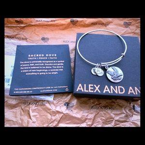 EUC Alex and Ani sacred dove bangle